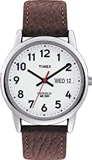 MNS Easy Reader BRWN Lthr STRP White Dial\, Day/Date Arabic Numerals WR 30 Meters