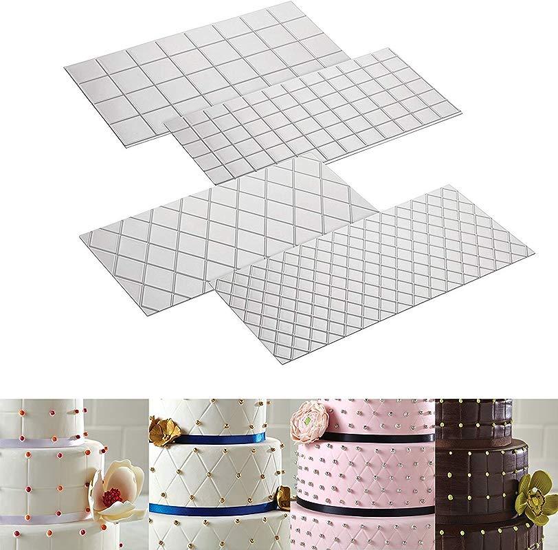 Cake Decorating Mat Decorating Tools 4 Piece Quilted Fondant Imprint Mat Set 4pcs Square Shape