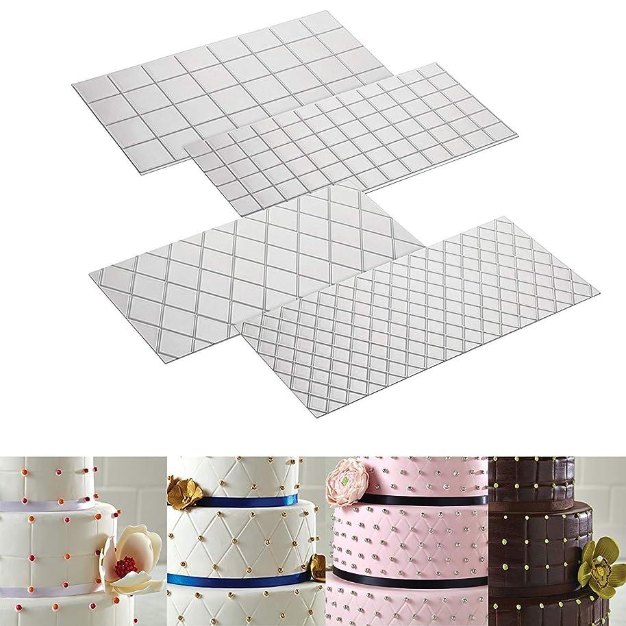 Cake Decorating Mat Decorating Tools 4-Piece Quilted Fondant Imprint Mat Set (4pcs Square shape)