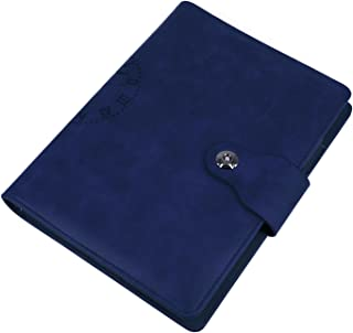 EzSos Leather Notebook Cover, Refillable Writing Journal Cover with Business Card Pocket, Travel Diary Cover with Magnetic Buckle, 6 Round Ring PU Leather Binder Cover for A5 Filler Paper, Blue