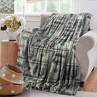 PearlRolan Travel Throw Blanket,Money,Dollar Bills of United States Federal Reserve with The Portrait of Ben Franklin,Pale Green Grey,Super Soft and Warm,Durable Throw Blanket 30
