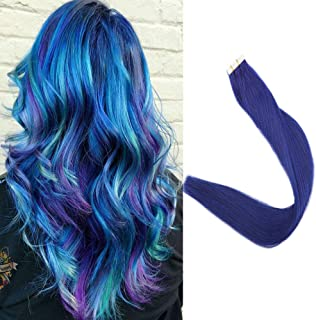 Full Shine Straight Hair Piece Tape Ins Color #Blue 22
