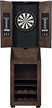 Hanover Stylish Wood Cabinet Dartboard with Bar Storage and Accessories Set, Espresso