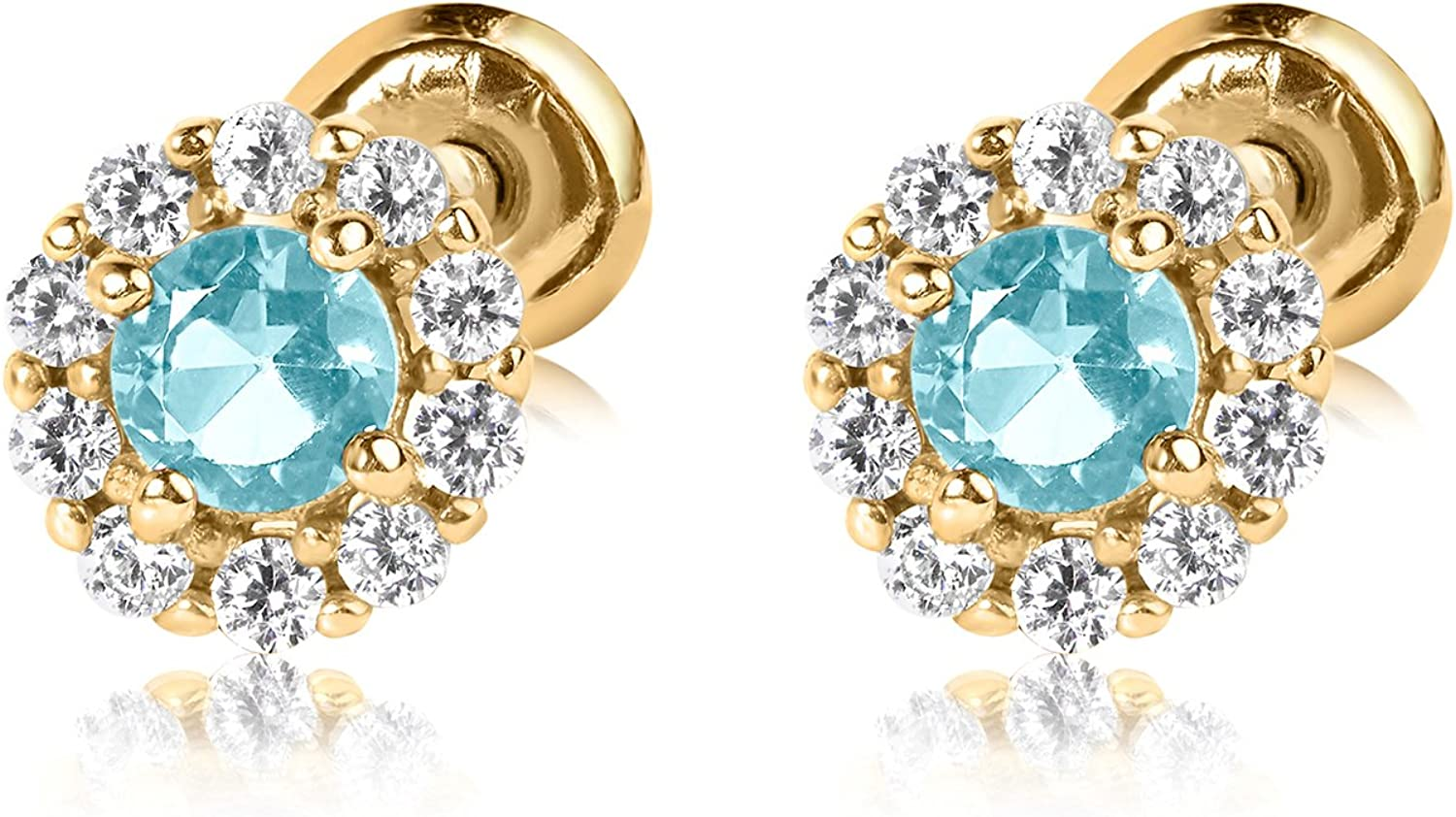 Olivia's Collection 14k Yellow Gold Halo Birthstone Screw Back Stud Earrings