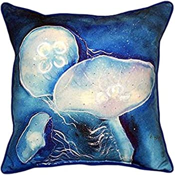 Amazon Com Betsy Drake Blue Jellyfish Indoor Outdoor Pillow 22 X 22 Home Kitchen