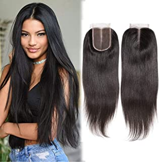 Lanyi 16 inch Middle Part Straight Lace Closure Black Unprocessed Remy Human Hair Brazilian Virgin Hair Center Part Closure 4x4 1b