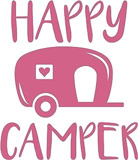 Happy Camper Vinyl Decal Sticker Car Window Bumper 6-Inches Premium Quality Print UV Resistant JMM00143PNK6 (Pink, 6-Inches)