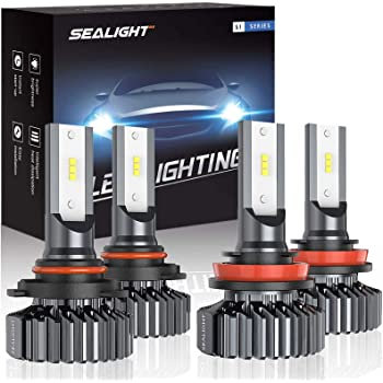 SEALIGHT 9005/HB3 H8/H11 LED Headlight Bulbs, 13000LM High Low Beam, Combo Package CSP Led Chips Hi/Lo lights - 6000K White