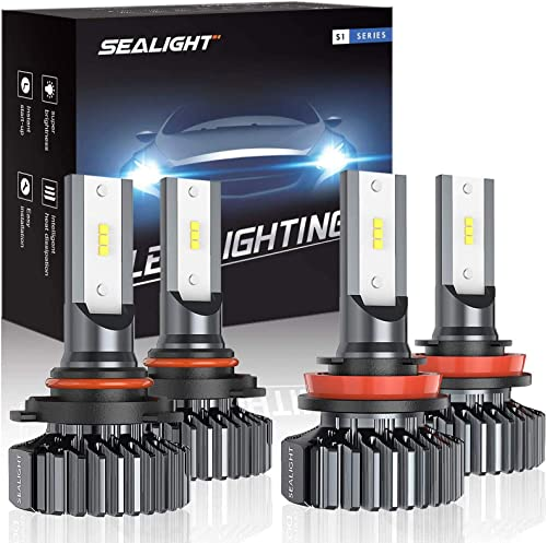 SEALIGHT 9005/HB3 H11/H9/H8 LED Bulbs Combo, Super Bright Cool white, Plug and Play, Pack of 4