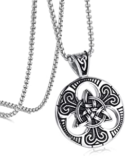 """Celtic Knot Necklace for Men Magic Both Sided Pendant Necklace Stainless Steel 24""""L"""