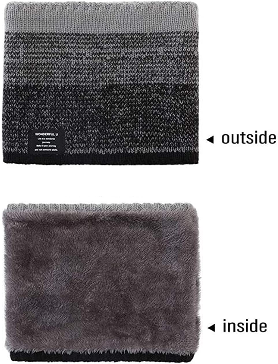 Women Winter Neck Warmer Gaiter Double-Layer Soft Fleece Lined Thick Knit Circle Scarf Windproof