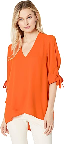 Bow Sleeve Crossover Top
