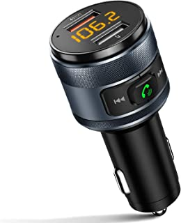 IMDEN QC3.0 Bluetooth FM Transmitter for Car, Wireless Bluetooth FM Radio Adapter Music Player Car Kit with Hands-Free Calling and 2 USB Ports Charger Support USB Drive