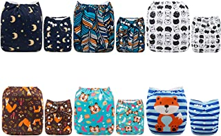 ALVABABY Cloth Nappies Diapers Reuseable Adjustable One Size Baby Gifts 6pcs + 12 Liners 6DM07-AU