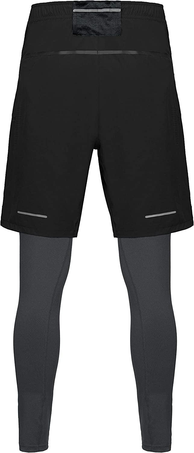 Little Donkey Andy Mens 2 in 1 Stretchy Running Training Compression Tights Pants Shorts Quick Dry Workout Gym Legging