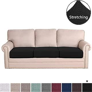 H.VERSAILTEX Super Stretch Stylish Furniture Cover/Cushions Covers Slipcover Spandex Jacquard Small Checked Pattern Super Soft Slipcover Machine Washable Individual (3-Piece Sofa Cushion, Black)