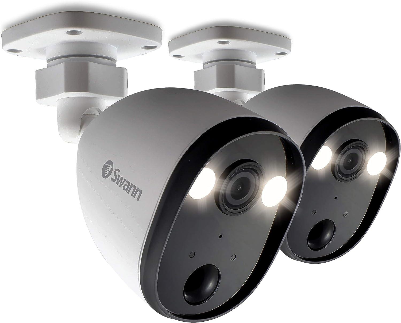 Swann Spotlight Outdoor Home Security Cameras, Weatherproof, Color Night Vision, Heat & Motion Sensor Light, Spotlights, 2-Way Talk and Siren (SWIFI-SPOTCAMPK2-GL)