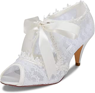 0adc79f30dbae0 JIAJIA Women s Bridal Shoes 5949419 Peep Toe Cone Heel Lace Satin Pumps  Ribbon Tie Wedding Shoes