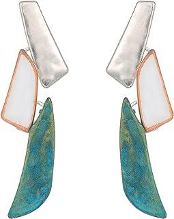 Robert Lee Morris Silver and Patina Linear Stud Earrings