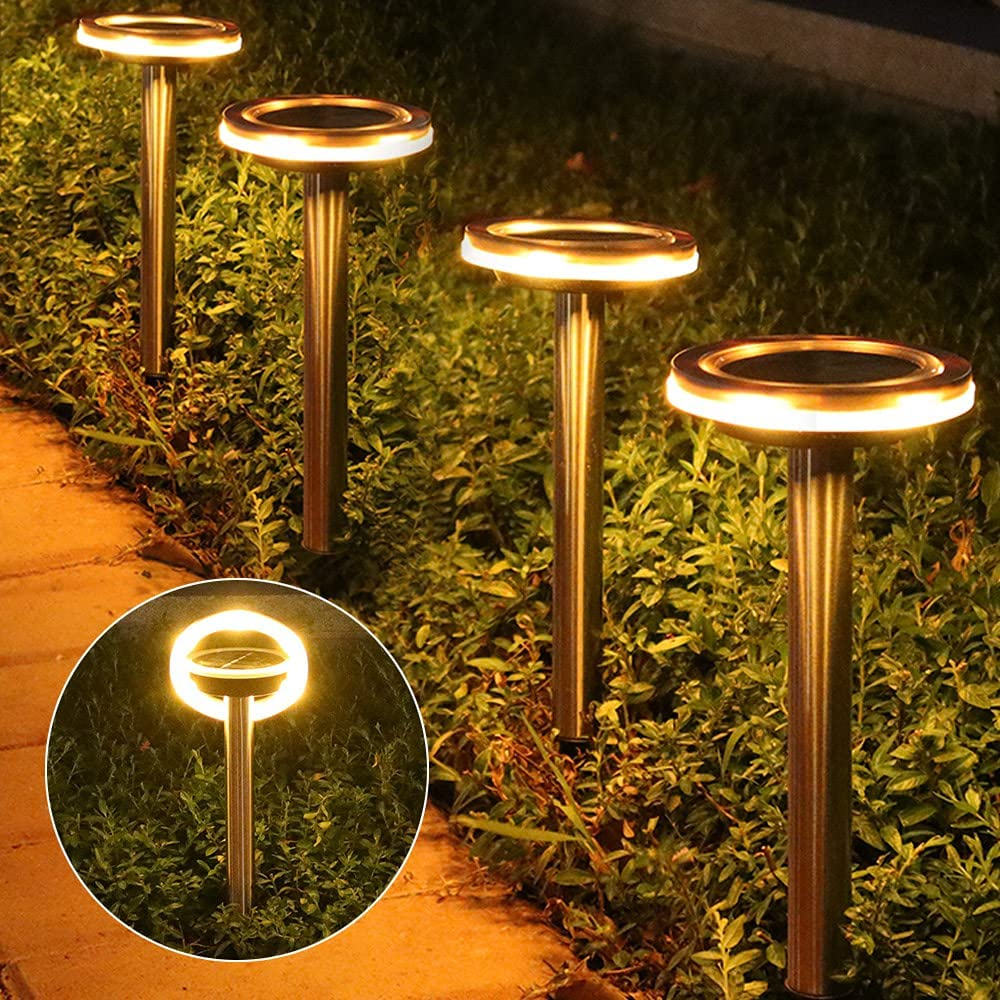 Solar Pathway Lights Outdoor Waterproof, shumi 6 Pack Adjustable Ring LED Solar Garden Lights, Bright Warm White Solar Powered Landscape Lighting for Path Lawn Patio Yard Walkway Driveway, Auto On/Off