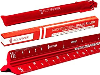 "HoliFiver Triangular Architectural Scale Ruler – 12"" Imperial Scale for Blueprints, Engineering or Drafting – Perfect Gift for Students, Architects, Engineers – Laser-Etched Aluminum Red Finish"