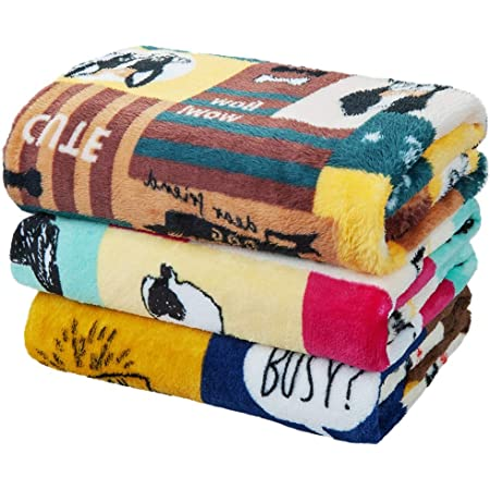 Pet Soft Flannel Blankets for Dogs - 3 PCS Premium Cats Dog Blankets Heavy-Duty Puppy Blankets for Medium Large Dogs 41x31