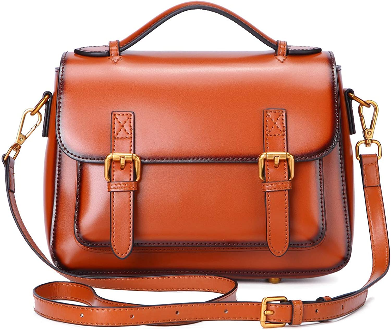 Leather Handbag for Women Mini Top Handle Bag Vintage Crossbody Bag Shoulder Purse