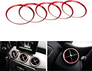 Best iJDMTOY 5pc Sports Red Aluminum Air Conditioner Vent/Opening Decoration Cover Trims Compatible With Mercedes CLA GLA Class Review