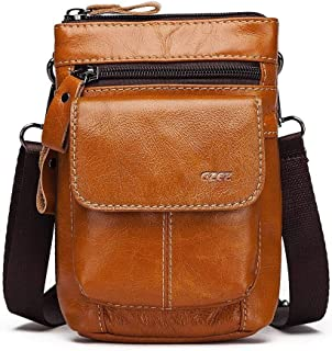 Mens Leather Bag Leather Men's Bag Vintage Cowhide Men's Small Cross-Body Bag Vertical Color Clamshell Men's Shoulder Bag Bag (Color : Brown, Size : S)