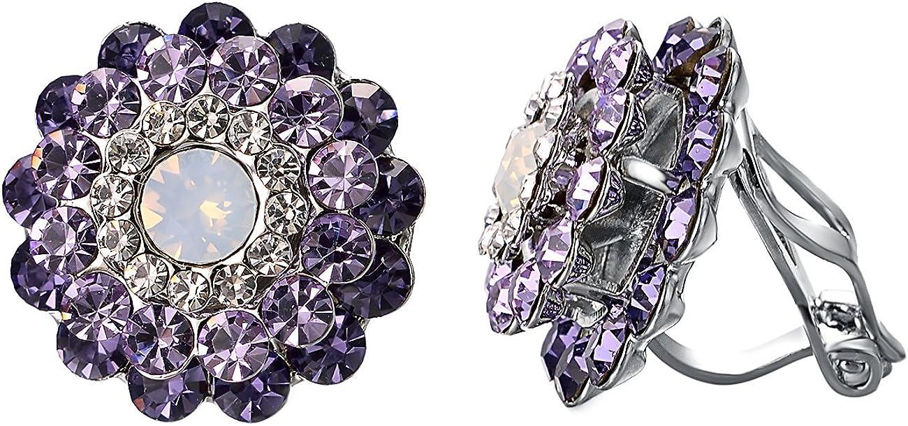 Yoursfs Clip on Earrings For Women Purple Crystal Small Cubic zirconia Floral Non Pierced Earrings (Purple Crystal)