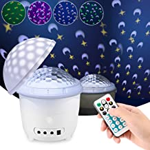Sawpy Star Sky Projector Night Lights, Remote Control and Timer Design Projection lamp Desk Lamp 4 LEDs Changing with USB Cable Colorful Lights for Children Kids Birthday, Children Baby Bedroom, Party