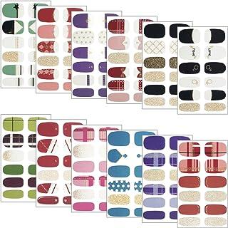 Gresunny 12 Hojas pegatinas uñas decorativas autoadhesivas nail stickers full cover DIY arte de uñas impermeable manicura ...