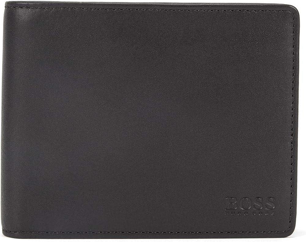 Hugo boss,portafoglio bi-fold in pelle liscia con taschino portamonete