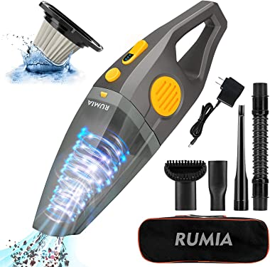 RUMIA Handheld Vacuum, 9000Pa Powerful Suction Cordless Car Vacuum Cleaner with Stainless Steel HEPA Filter, Portable and Rec