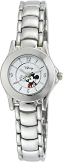 Disney Women's MK2036 Mickey Mouse White Dial Silver-Tone Bracelet Watch