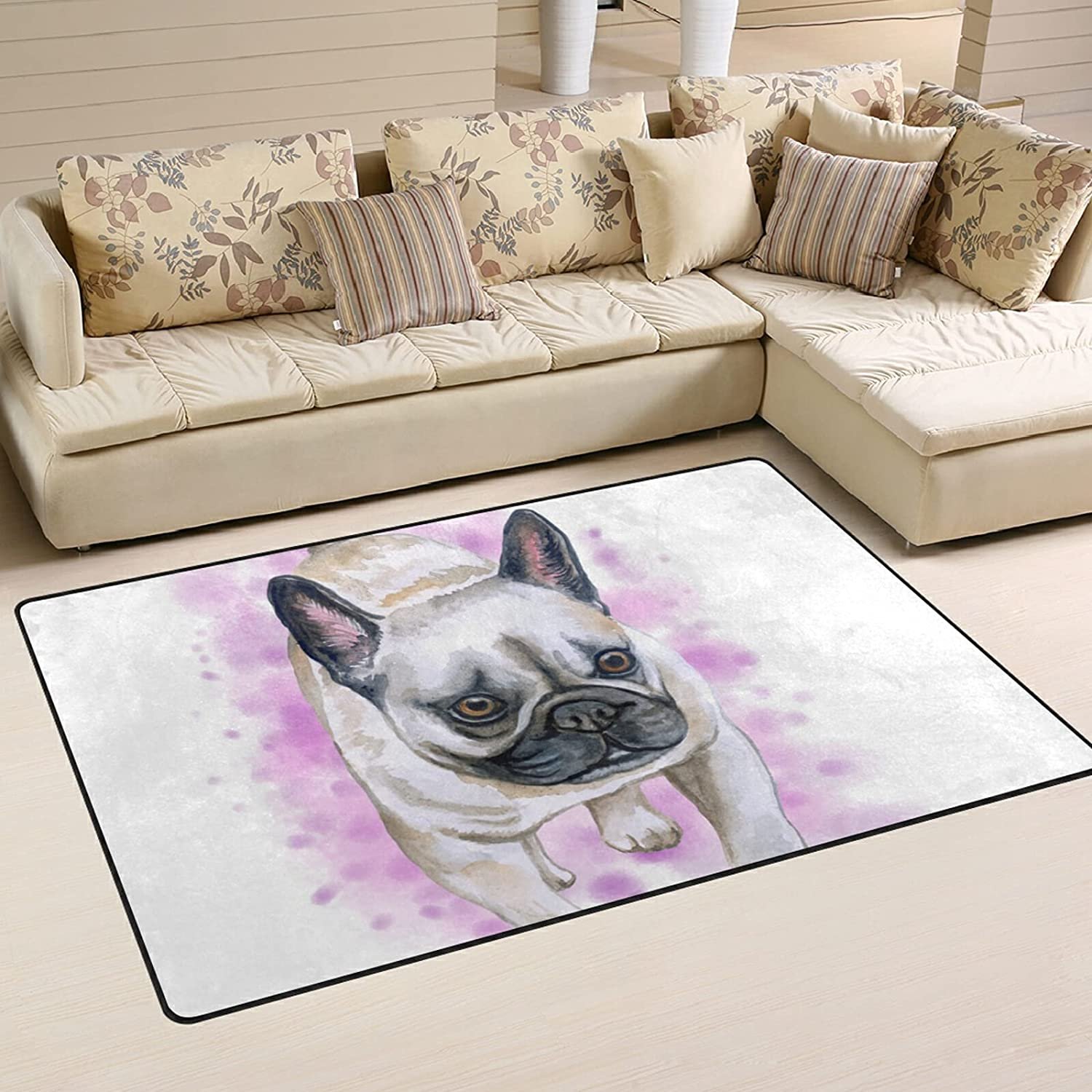 Watercolor French Bulldog Luxury Large Soft Playmat Rugs Nursery Area OFFicial mail order R