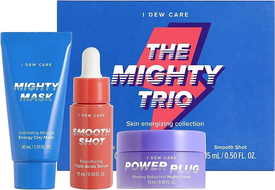 I DEW CARE Mighty Trio I Skincare Set with Exfoliating Clay Mask, Resurfacing Acid Serum, and Firming Night Cream I Korean Skincare, Vegan, Cruelty-free, Paraben-free