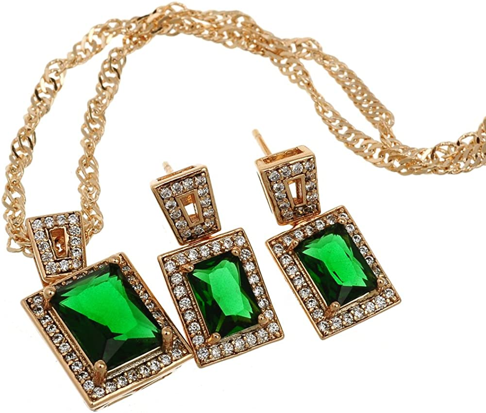 loyoe jewelry 18k Yellow Gold Plated Womens Pendant Necklace Earrings Set with 4 Prong Square Emerald Zircons Setting