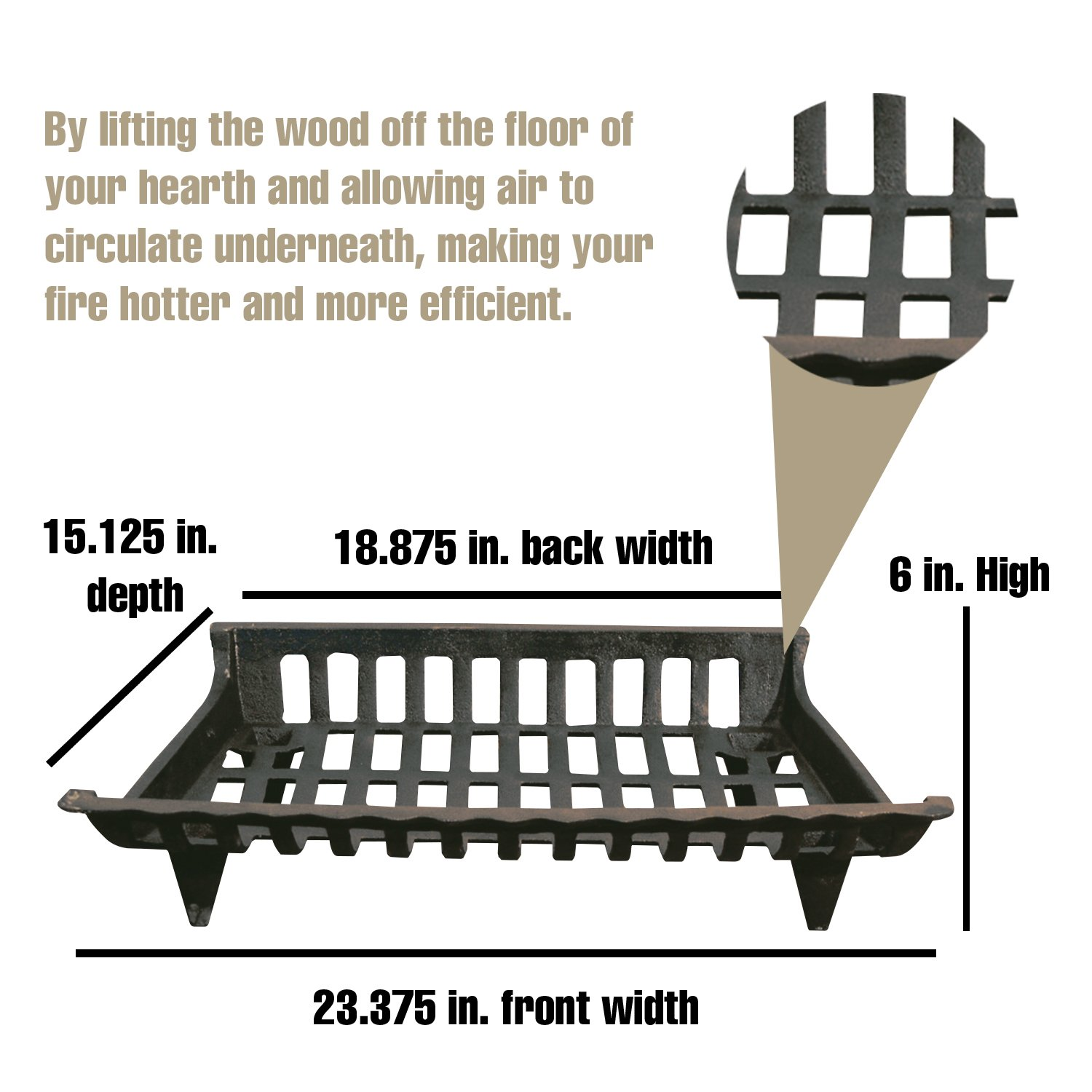 """Patterned Iron Fireplace Grate Fire grates 22 Inches 26 22 4 Size Variations Includes Ash Tray and Iron Rod with Unique GIFT Coffee Table Legs Height 15/"""" Width 28 IInches 24 Black"""