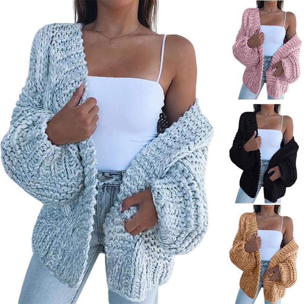 Onsoyours V-Ausschnitt Laternenärmel Oversize Lässige Grobe Cardigan Strickjacke Mantel Sweater Damen Mode A Weiß