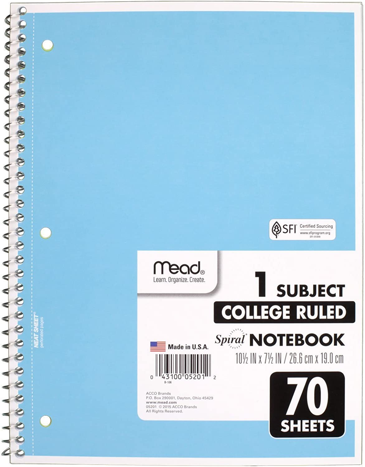 Mead Spiral Notebook, 1 Subject, Subject, Subject, 70 Wide Ruled Sheets, Assorted Farbes, 6 PACK (73063) by Mead B0141NDXPK    Einzigartig  fc0e63
