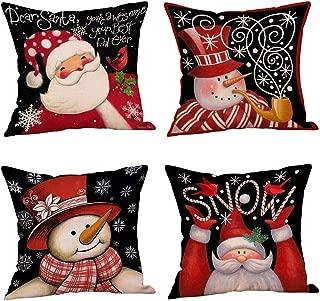 MeritChoice Christmas Pillow Covers Set of 4, Square Santa Claus Snowman Throw Pillow Cases 18 x 18 Inches Cotton Linen
