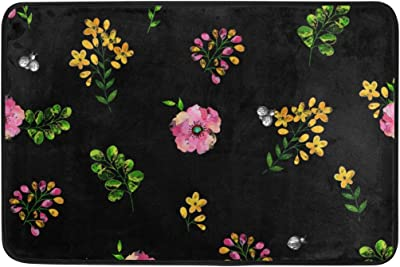 MASSIKOA Floral Insect Non Slip Backing Entrance Doormat Floor Mat Rug Indoor Outdoor Front Door Bathroom Mats, 23.6 x 15.7 inches