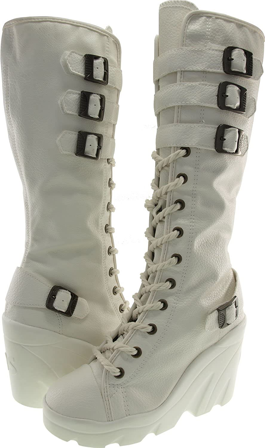 Maxstar 4 Belt Synthetic Leather Wedge Heel Knee Height Boots