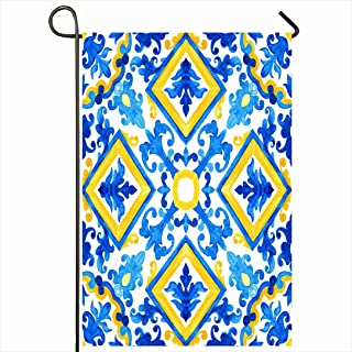 Ahawoso Outdoor Garden Flag 12x18 Inches Blue Floral Portuguese Azulejo Tiles Watercolor Pattern Nature Talavera Victorian Geo Mexican Simple Seasonal Home Decor Welcome House Yard Banner Sign Flags