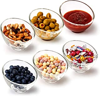 EZOWare Small Glass Bowl Set, 5 oz Slant Cut Angled Stackable Bowls - Great for Serving Sauces, Dips, Desserts, Snacks, Nuts, Ice Cream, Food Prep - Set of 6
