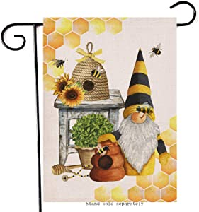 Artofy Honey Bee Gnome Home Decorative Garden Flag, Spring Summer House Yard Sunflower Honeycomb Decor Outside Lawn Welcome Decorations, Seasonal Farmhouse Outdoor Small Burlap Flag Double Sided 12x18