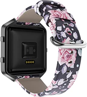 YOUKEX Fitbit Blaze Bands, Floral Printed Leather Wristband with Black Stainless Steel Frame for Fitbit Blaze Smartwatch Women Men