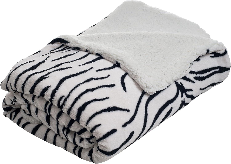 Bedford Home Fleece Blanket with Sherpa Backing, Full/Queen, Zebra