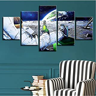 Aayuj Canvas Painting 5 Panel Piece Exquisite Wall Hanging Astronaut Drinking Beer and Planet Earth Home Decoration Wall Art Decor HD